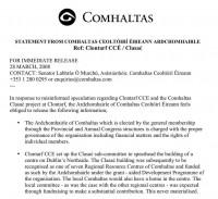 Ardchomhairle Statement on Clontarf CCÉ and Clasaċ