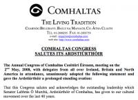 Comhaltas Congress Salutes its Ardstiúrthóir