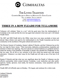 2009 Fleadh Cheoil will Return to Tullamore