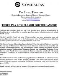 2009 Fleadh Cheoil will Return to Tullamore